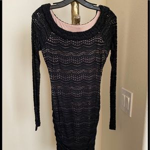BCBGMAXAZRIA BLACK WITH NUDE UNDERLAY DRESS